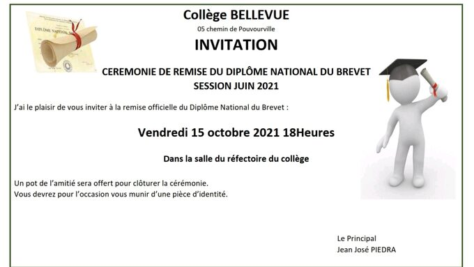 Invitation remise diplôme DNB